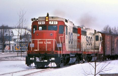 Soo Line freight at Hubbell, MI
